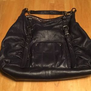 Steven Madden navy all leather hand bag